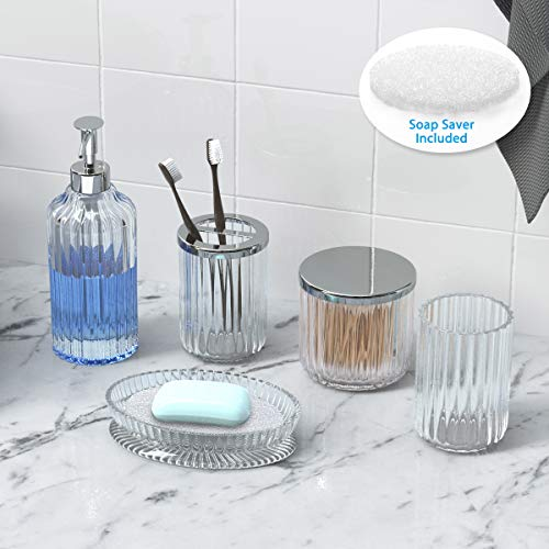 Bathroom Accessories Set 5 Pieces Glass Bath Accessory Collection Vanity Countertop Set Completes with Soap Dispenser, Cotton Holder, Toothbrush Holder, Tumbler, Soap Dish, Free Soap Saver Included