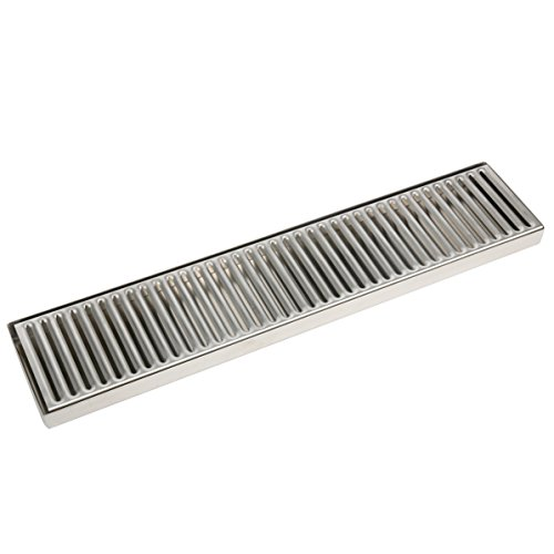 YaeBrew 19' Length 4' Width Rectangular Stainless Steel Beer Surface Mount Drip Tray, No Drain, Silver