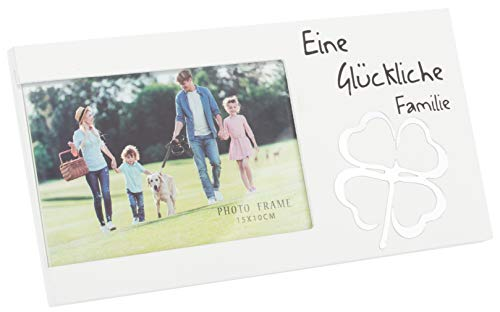 Brandsseller Bilderrahmen Fotorahmen - Eine Glückliche Familie - mit Spiegel Glücksklee 25x13x1,5 cm Matt-Weiß