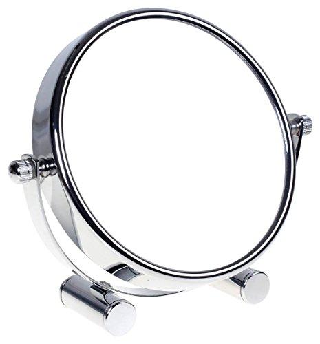 HIMRY Designed Kosmetik Spiegel/Kosmetikspiegel, 360° drehbar. zweiseitig: normal und 5 - Fach Vergrößerung. Standspiegel, Rasierspiegel, Badezimmerspiegel. verchromten, KXD3104-5x