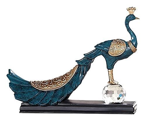 Escultura de escritorio Resina escultura pavo real estatua de pavo real decoración del hogar gabinete de vino sala de estar porche tv gabinete decoración regalos artesanía estatuillas