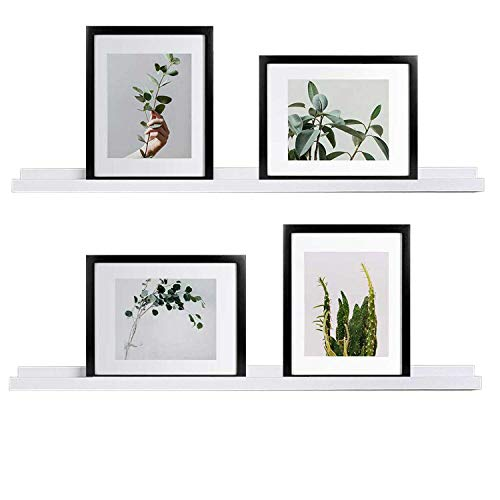 WELLAND White Picture Ledge, Photo Ledge, Floating Ledge Wall Shelves, 36-inch, Set of 2, White