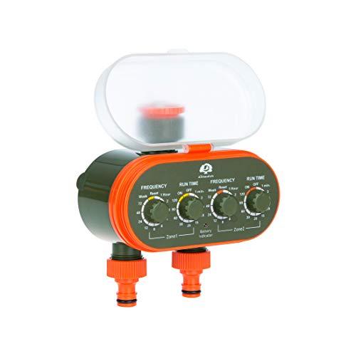 Ultranatura Doppel-Bewässerungssystem mit Zeitschaltuhr, ideal zur Blumenbewässerung, Rasenbewässerung etc, Urlaubsbewässerung, Batteriebetrieben, kabellos, mit zwei Ausgängen, inkl. Schlauchkupplung