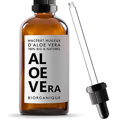 BIO Aloe Vera Öl 100{ab87994a3f677db9c14dc7916fd5a572c262e589d21d11bd6e4759bcc3a605e9} rein, natürlich und vegan - 100 ml - ölmazerat - Pflege für Gesicht, Haut und Haare