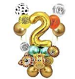 Globo Número Gigante,Fiesta de cumpleaños decoracion Niño-Feliz cumpleaños feliz con Globos de latex y Safari Bosque Animal globos para Niño Cumpleaños1-9 años (2 año)