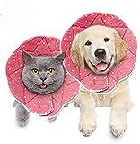 Meiso, collare per cani e gatti, resistente ai graffi, resistente all acqua, facile da pulire e pulire, con cinghie regolabili per cani e gatti (rosa, M)