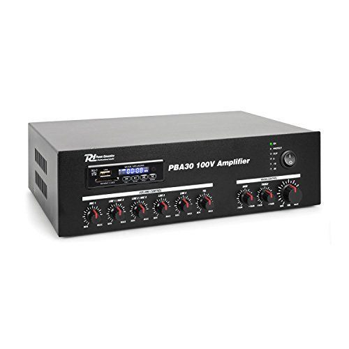 Power Dynamics PBA30 100V versterker 30W met mp3 speler, tuner en Bluetooth