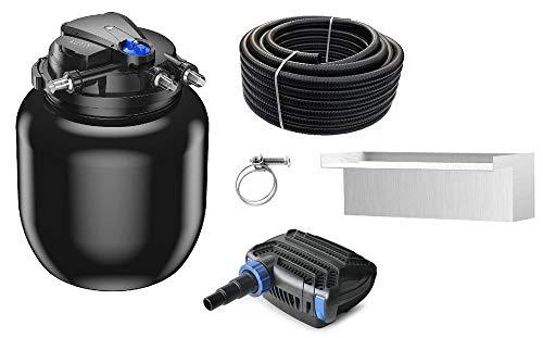 AquaOne Teich Filteranlage Set Nr.49w CPA 50000 Druckfilter 120W Eco Teichpumpe Teichgröße bis 80000l Teichschlauch Bachlauf UV Lampe