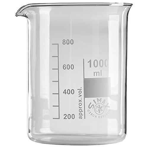 1 x 1000ml Becherglas aus hitzefestem Borosilikatglas, graduiert, mit Ausguss, niedrige Form * Messbecher, Bechergläser, Laborglas, Laborbecher *
