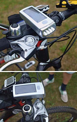 Equipo de iluminación delantera de la bici Lámpara- creativo de plata impermeable del USB de la bici luces de la bicicleta de 4 LED de energía solar de la lámpara recargable de energía móvil de múltip