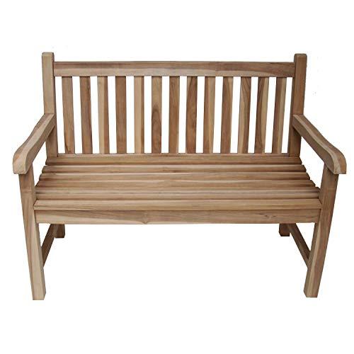 CHICREAT - Panchina da giardino a 2 posti, realizzata in legno di teak, circa 120 cm di larghezza