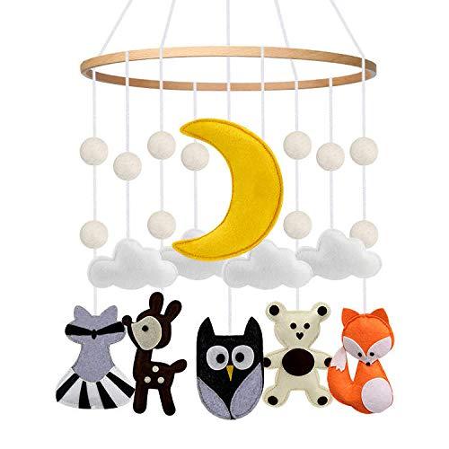 Woodland Creatures Soft Felt Baby Cot Mobile Forest Animals Hanging Nursery Decoration for Crib Newborn