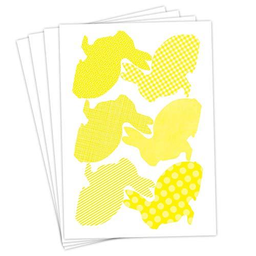 Papierdrachen 24 Adesivi pasquali per Il Fai da Te e per Decorare - Soggetto Giallo Coniglio staglia - Adesivi Num. 22 - Pasqua 2019