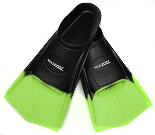 Aqua-Speed® HIGH TECH Kurze Trainingsflossen   Schwimmflossen   Schwimmtraining   Kurzflossen   Taucherflossen   Größen 33-48, Größen:33/34, Modell:schwarz/neon-grün/38