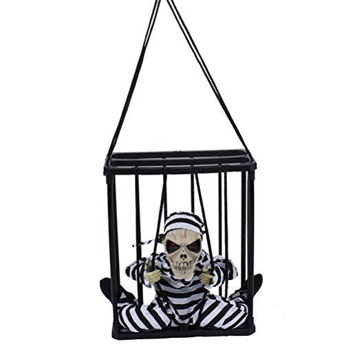 BESTOYARD Halloween Hängende Ghost Voice-aktivierten Gefangenen Scary Party Requisiten Dekoration für Spukhaus Bar KTV Party (ohne Augenbinde)