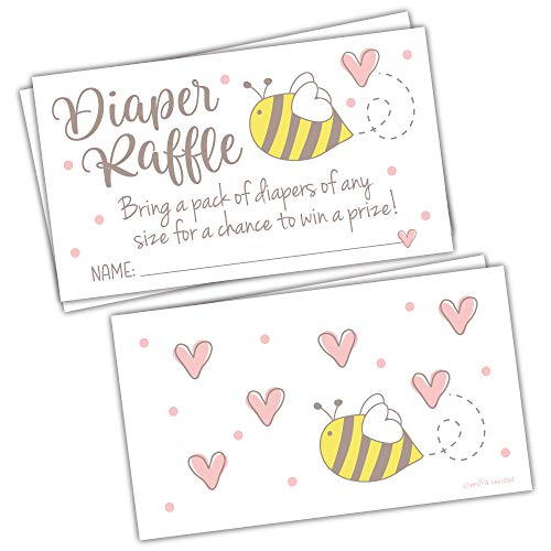 50 Baby Bee Diaper Raffle Tickets for a Girl or Gender Neutral Baby Shower - Invitation Inserts - Mom to Bee Baby Shower