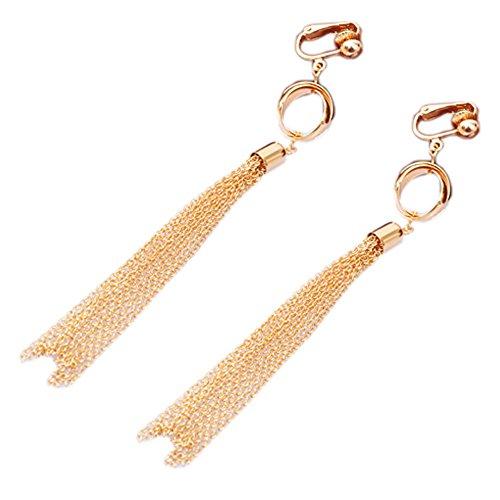 Latigerf Gold plattiert lang Quaste Non-Pierced Ohrclips Ohrring Clips für nicht durchbohrte Ohren für Bankett