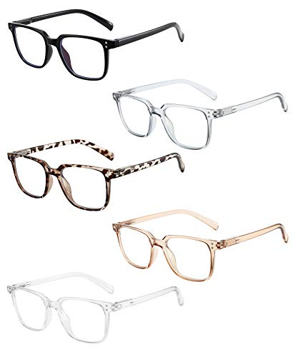 Axot Blue Light Blocking Reading Glasses 5 Pack, Fashion Square Eyeglasses Frame Computer Readers for Men Women (5 Pack Mix, 1.5)