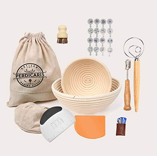 Round Banneton Bread Proofing Basket For Rising Dough  set of 2: 10 inch and 7 inch Round Handmade rattan brotform with all Essential Tools for baking homemade sourdough