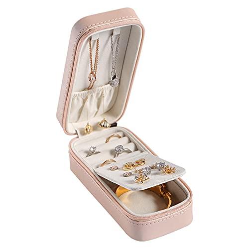 FACHA Joyero de viaje unisex portátil, caja de almacenamiento de piel sintética para pendientes, collar, caja de joyería de terciopelo (color rosa, tamaño: 15 x 6,5 x 5 cm)