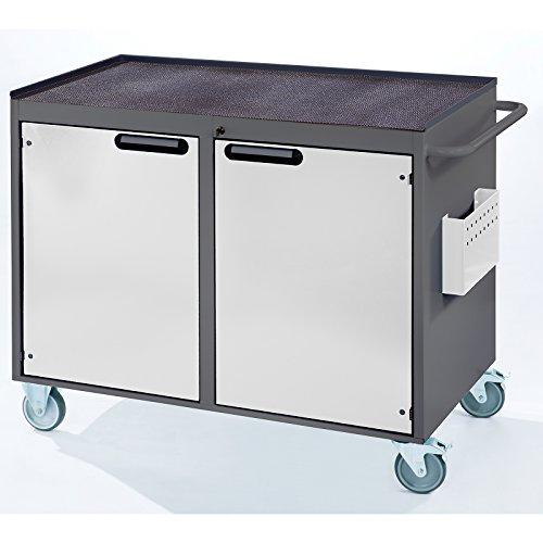 RAU Werkbank, fahrbar – 2 Türen, Metallablage mit Gummimatte, lichtgrau / enzianblau – Fahrbare Werkbänke Werkbänke, fahrbar Fahrbare Werkbänke Werkbänke, fahrbar - 4