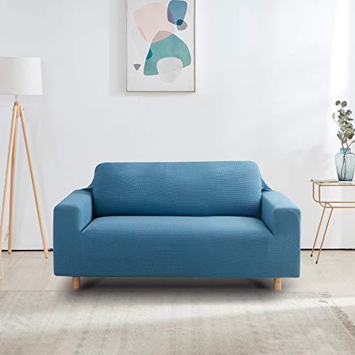 Furlinic 2 Sitzer Sofabezug Elastisch Stretch Überzug für Sofa in Wohnzimmer Gitter Stoff Couchbezug Waschbar Blau 140 bis 180cm.