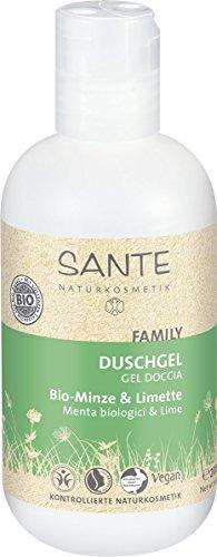 SANTE Natuurcosmetica Douchegel Bio-Mint & Limoen, Plantaardige oppervlakte-actieve stoffen, stimuleert lichaam & zin, veganistisch, 2 x 200 ml dubbelpak