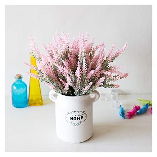 QEEN 1 Bundle Romantische Provence Lavendel-Hochzeit Dekorative Blumen-Vase for Hauptdekor Künstliche Blumen Korn Weihnachten Gefälschte Pflanzen (Color : Pink)