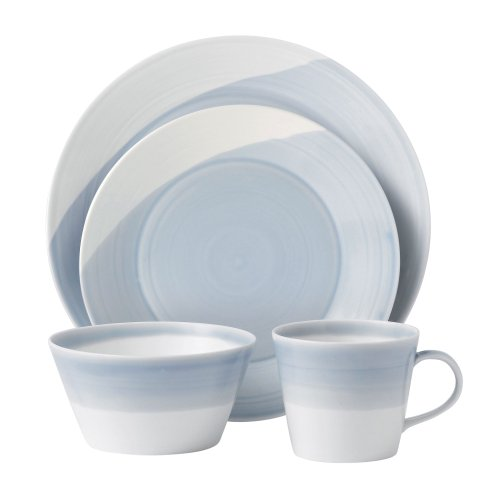 Royal Doulton 1815 Blue Dinner Set 16 piezas (4 platos de 28 cm, 4 platos de 23 cm, 4 cuencos de cerámica de 15 cm, 4 tazas de 0,45 L)