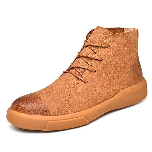 DIBAO Kettle de Silbato para la Placa de Gas Hombres Moda Tobillo Trabajo Boot Casual Vintage Outsole Cepillado Lace Up Invierno Faux Fleece Inner Heights Top Boot (Color : Brown, Size : 42 EU)