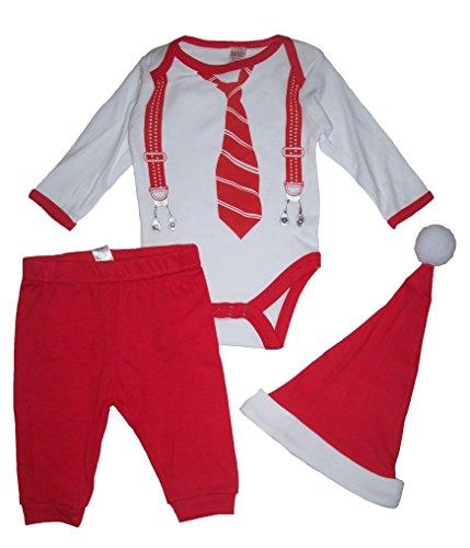 Baby Boys Christmas outfit Body, pantaloni e cappello da Babbo Natale