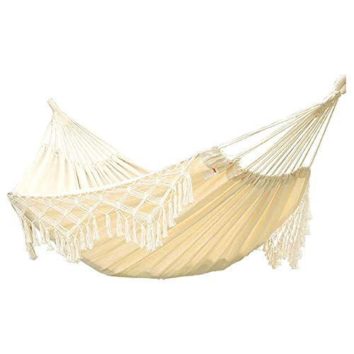 HnF Outdoor Hammock, Double Cotton Hammock Fabric Canvas, Including Carrying Bag, Soft Cotton Fabric, Easy To Clean, Suitable for Travel, Porch, Outdoor or Indoor Use