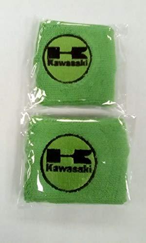 Par verde Kawasaki Moto Delantero y Trasero Depósito Líquido de Frenos Cubiertas Funda Calcetines