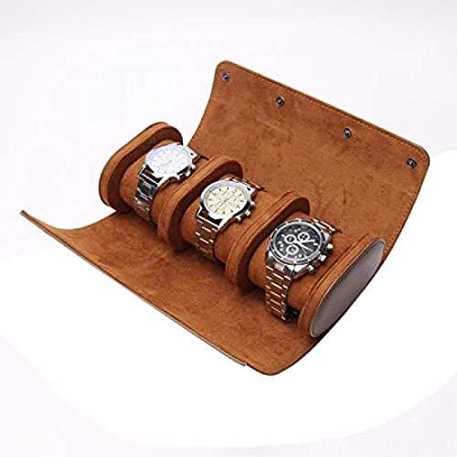 GUOSHUFANG 3 compartimentos para relojes retro, de piel sintética de poliuretano, bolsa de viaje elástica, organizador de reloj, caja de almacenamiento para hombres y mujeres