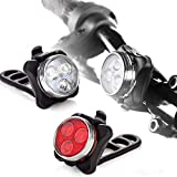 AWLE Bike Light 2 Pack, USB Rechargeable Bike Light,Super Bright Front Headlight and Rear LED Bicycle Light, 2X Longer Battery Life