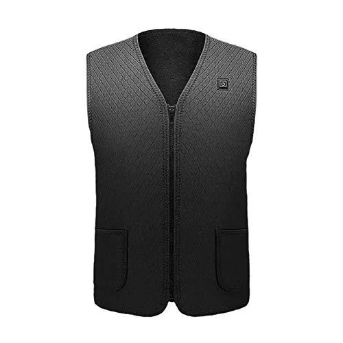 Aqzor Beheizte Weste 7 Heizkissen für Mann USB Elektrische Herren Warme Kleidung Outdoor (ohne Batterie) - - L