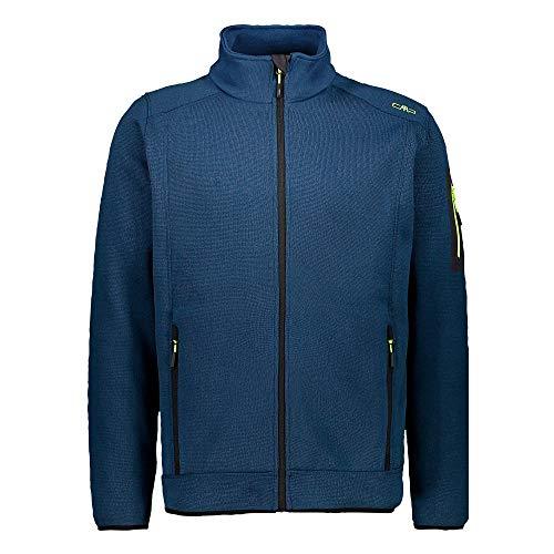 CMP – F.LLI Campagnolo Herren Knit Tech Polyester-Strickfleecejacke Fleecejacke, Blue Ink-Yellow Fluo, 56