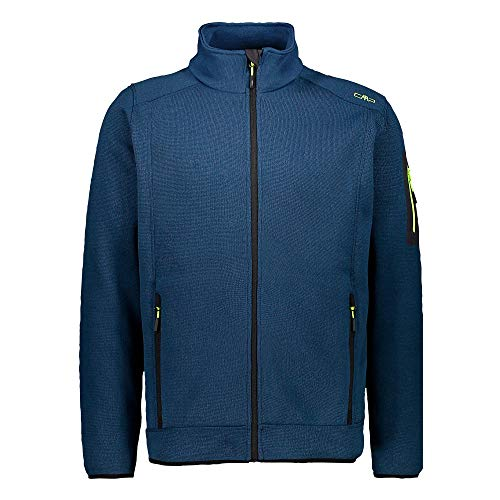 CMP – F.LLI Campagnolo Herren Knit Tech Polyester-Strickfleecejacke Fleecejacke, Blue Ink-Yellow Fluo, 48