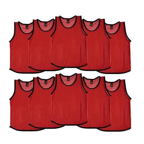 Ronex Sports Petos de Entrenamiento para niños, jóvenes y Adultos (Petos Deportivos, Petos de Futbol) - Pack de 10 Unidades (Rojo, Adulto)