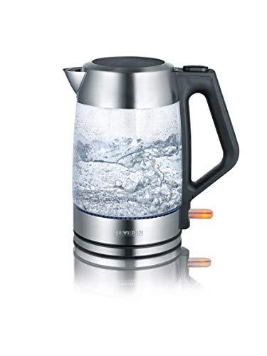 SEVERIN Glas-Wasserkocher, 1,7 L, ca. 2.200 W, WK 3475, Edelstahl/Schwarz