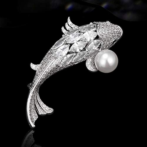 Broches De Las Mujeres Broche de joyería Suerte Crystal Fish Pin cristalino de la Broche de Perlas de Cristal broches y prendedores Broche Pin Colgante (Color : Silver)