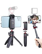 Mini Smartphone selfie stick statief met houder vlog kit, MT-08 camera statief en ST-07 mobiele telefoon houder voor iPhone Samsung Huawei YouTube Tiktok Vlogger en DSLR Sony Canon Fujifilm camera