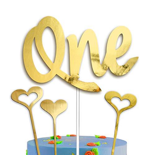 Een taart Topper 1e Verjaardag Goud Hoorden Decoratie Set Glitter Exclusieve Eerste Bday Gelukkige Verjaardag voor Jongens Meisjes Handgemaakte Liefde Dubbele Zijde Goud met Hoorden