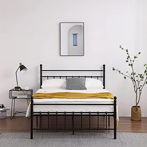 HUJUNG Marco de cama de hierro negro de 4 pies, tira vertical de tubo redondo con bola redonda decoración y extremo de cama, estilo moderno y simple, adecuado para adultos, niños y adolescente