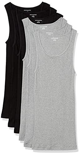 Amazon Essentials undershirts 6er pack, Black/Heather Grey, XS