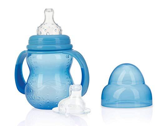 Nuby ID1107BLUE Nûby - Trinklerntasse mit 2 Aufsätzen - Non Drip Sauger und No-spill Trinktülle - 240 ml - 0M+, Blau