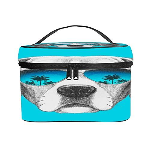 CIKYOWAY Bolsa de Cosméticos,Retrato de Perro Beagle con Gafas de Sol de Espejo Dibujado a Mano,Neceser de Viaje para Maquillaje,Neceser Organizador para Mujeres y niñas25×18×15cm