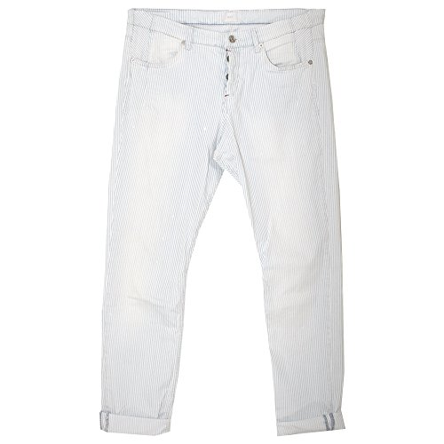 Mac, Sexy Cropped, Damen Damen Jeans Hose Softdenim Stretch White Bleu Striped D 40 L 28 Inch 31 [20853]