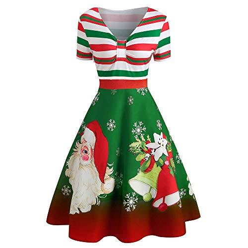 Auifor Mode voor vrouwen Kerstmis Swing-jurk met V-hals