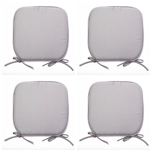 Set Of 4 Beautiful REMOVABLE Dining Garden Chair Cushion Seat Pads With Ties (Grey)